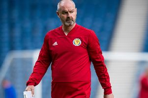 Scotland manager Steve Clarke during a training session at Hampden. Picture: Ross Parker/SNS