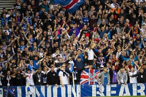 Rangers fans roar on their team during the home leg of the St Joseph's tie. Picture: Craig Williamson/SNS