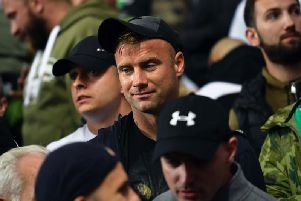 Former Celtic goalkeeper Artur Boruc in the away end at Ibrox on Thursday evening.