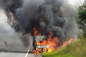 The A1 is closed just after Haddington in East Lothian after a vehicle fire. Picture: East Lothian police