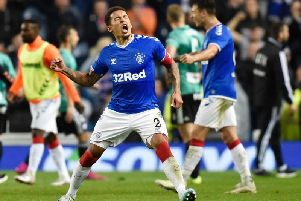 James Tavernier celebrates Rangers reaching the Europa League group stage. Celtic have also qualified. Picture: SNS