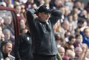 Hearts manager Craig Levein shows his anxiety during his side's draw with Hamilton on Saturday. Picture: SNS