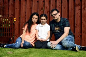 James and Natasha Neill along with their 6yr old daughgter Lois have been forced to move into his grandparents house. Picture: Lisa Ferguson