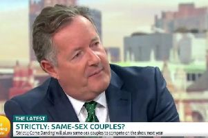 Hosts PiersMorgan and Susanna Reid clashed with former DUP health minister Mr Wells, who said that Strictly is family viewing. Picture: GMB