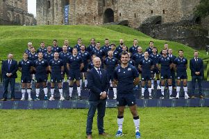 Head coach Gregor Townsend, captain Stuart McInally and the rest of the Scotland players after the World Cup squad was announced at Linlithgow Palace yesterday. Picture: Ian Rutherford/PA