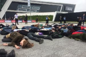 Around 40 activists from Extinction Rebellion participated in a die-in today at the front entrance of the P&J Live arena to protest the SPE Offshore Europe Conference & Exhibition, an oil and gas exploration and production conference hosting over 36,000 attendees from all over Europe. [1]''After reading a speech about the oil and gas industry's role in the climate and ecological crisis the activists lay down and pretended to die, representing those that have already died and will die in the future due to the climate and ecological emergency caused in part by burning fossil fuels.''Exploration of new oil and gas threatens to push the world over dangerous climate tipping points; even burning fossil fuels already extracted could lead to global heating of 6 degrees Celsius, with catastrophic consequences. [2]''Hannah, 23, student and XR activist said: 'Oil and gas companies have known about climate change for over thirty years now and actively lobby to block climate change policies. Meanwhile, people are already