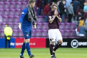 Colin Doyle, left, and Glenn Whelan begin the post mortem at the final whistle, following Hearts' defensive disasters last Saturday. Picture: SNS.