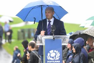 Gregor Townsend shields himself from the rain as he announces his World Cup squad at Linlithgow Palace. Picture: Gary Hutchison/SNS