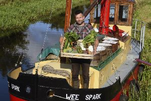 Iain Withers with some of the produce he plans to take to market via the Union Canal (Picture: Lisa Ferguson)
