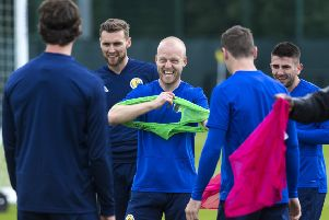 Steven Naismith at a Scotland training session at Oriam. Photo:  Paul Devlin/SNS Group.