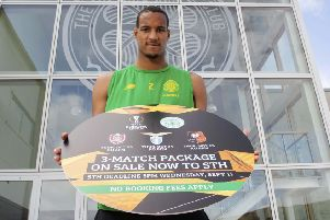 Celtic's Christopher Jullien promoted ticket sales for the Europa League group stage. Picture: Craig Foy/SNS