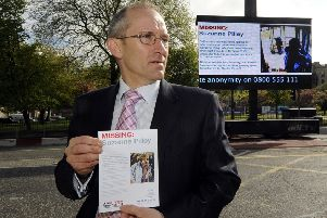 DCI Gary Flannigan leading the investigation into the disappearance of Suzanne Pilley  launchs a big screen and leaflet appeal at St Andrews Square.