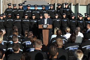 West Yorkshire police criticised Boris Johnson for making a political speech before a backdrop of its officers. Picture: Danny Lawson/PA
