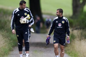 David Marshall and Shaun Maloney, right, were team-mates at Scotland, Celtic and Hull but will be on opposite sides at Hampden, with Maloney on Belgium's coaching team. Picture: Craig Williamson/SNS