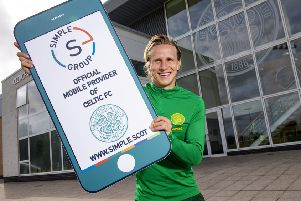 Moritz Bauer savoured his Celtic debut in the Old Firm derby despite being on the receiving end of a wild lunge from Jordan Jones. Picture: Craig Williamson/SNS