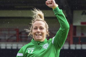Joelle Murray is determined to draw on past experience when Hibs face Slavia Prague tonight. Picture: SNS.