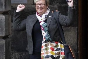 SNP MP Joanna Cherry celebrates at the Court of Session