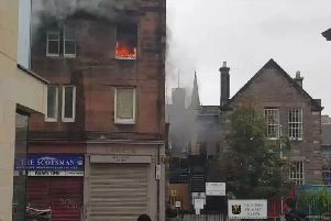 The scene of the fire shortly after the explosion.