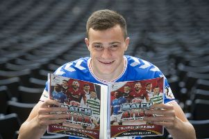 Rangers' George Edmundson launches the new SPFL Match Attax 2019-20 collection. Picture: Jeff Holmes