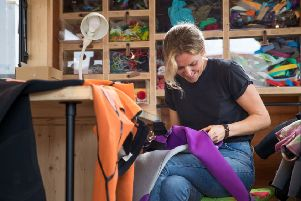 Elsie Pinniger - one of the wetsuit repair experts on the Patagonia Worn Wear tour PIC: Mike Guest