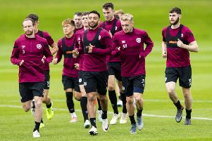 Hearts players train ahead of tomorrow's clash with Motherwell. Pic: SNS