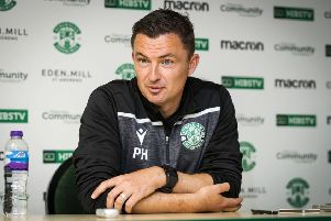 Hibs boss Paul Heckingbottom addresses the media at East Mains. Picture: Roddy Scott/SNS