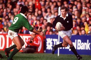 John Rutherford's Scotland career was ended after a knee injury in Scotland's World Cup match against France in 1987. Picture: Colorsport/Shutterstock
