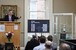 Peter Blake Macallan 60 year old bottle of whisky sold for �500,000 in auction at Bonhams - auctioneer Charles Graham-Campbell