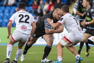 Glasgow Warriors' Adam Nicol takes the game to Ulster at Scotstoun. Picture: Paul Devlin/SNS