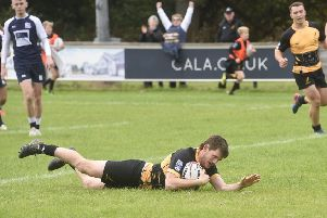Currie's Gregor Christie scores a try against 'Selkirk. Picture: Greg Macvean