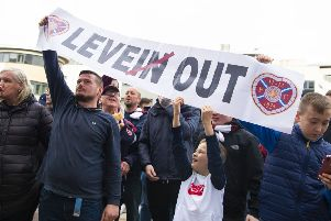 Hearts supporters protest against manager Craig Levein. Picture: Ross MacDonald / SNS