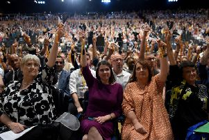 Liberal Democrat leader Jo Swinson during the vote to rescind article 50 at the party conference in Bournemouth. Picture: Getty Images