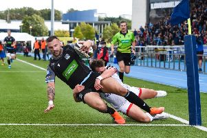 Rory Hughes scores for Glasgow Warriors against Ulster. Picture: SNS/SRU
