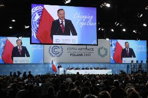 Andrzej Duda, President of Poland, speaks at the opening ceremony of the COP 24 United Nations climate change conference on December 03, 2018 in Katowice, Poland. Picture: Getty Images