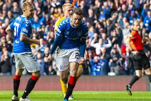 Winger Brandon Barker scores on his home debut for Rangers. Picture: SNS.