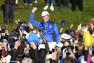 Team Europe captain Catriona Matthew celebrates with fans at Gleneagles. Picture: Ian Rutherford/PA Wire