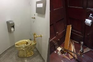 The 18-carat solid gold toilet by Italian artist Maurizio Cattelan was stolen from an art exhibition at Blenheim Palace. PA Wire