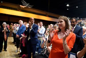 Leader of the Liberal Democrats, Jo Swinson at the Liberal Democrat Conference at the Bournemouth International Centre  (Photo by Finnbarr Webster/Getty Images)