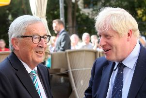 EU Commission president Jean-Claude Juncker (L) welcomes British Prime Minister Boris Johnson (R) prior to their meeting. Picture: FRANCOIS WALSCHAERTS/AFP/Getty Images