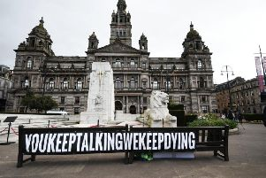 The taskforce was set up following increasing calls for the government to alter their stance on tackling drug use, with banners like the one above shown at a recent gathering held in Glasgow city centre for International Overdose Awareness Day.