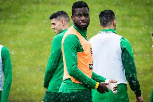 Odsonne Edouard, taking part in training at Lennoxtown, isn't fazed by reports linking him with a big-money move to Napoli