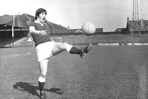 Bobby Prentice plays keepy-uppy during a training session at Tynecastle in 1976. Picture: Stan Warburton