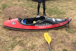 The black and red Mega Megatron surf kayak was stolen overnight between midnight and 6am on Wednesday. Pic: Richard Young.