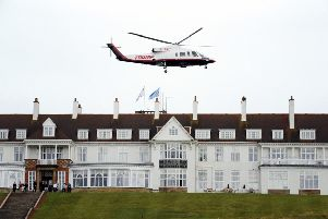 Donald Trump departs his Turnberry resort aboard his Sikorsky S-76B helicopter. Picture: Scott Heppell/AP