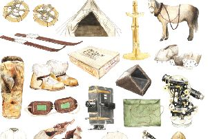 Some of the equipment used by Captain Robert Falcon Scott during his ill-fated British Antarctic Expedition of 1910-13 PIC: illustration by Christine Berrie