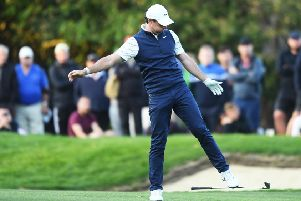 Rory McIlroy reacts on the 18th during day 2 of the BMW PGA at Wentworth. Picture: Harry Trump/Getty Images