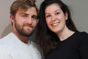 Lucy Lintott with her partner Tommy Smith. Picture: @LucyLintott/Twitter