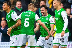 Hibs players celebrate after Stevie Mallan had opened the scoring.