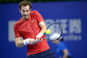 Andy Murray plays a backhand during his win over Tennys Sandgren at the Zhuhai Championships. Picture: Joe Giddens/PA Wire