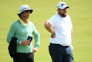 Shane Lowry, right, and coach Neil Manchip during a practice round before the 2019 Open Championship at Royal Portrush. Picture: Andrew Redington/Getty